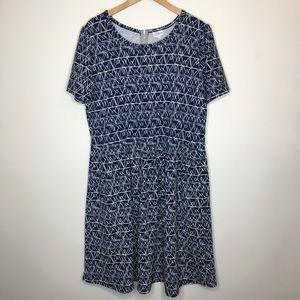 Lularoe Amelia 3XL Dress Blue Geographic Print